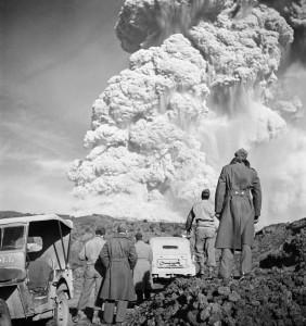 Soldiers Watch Vesuvius Eruption